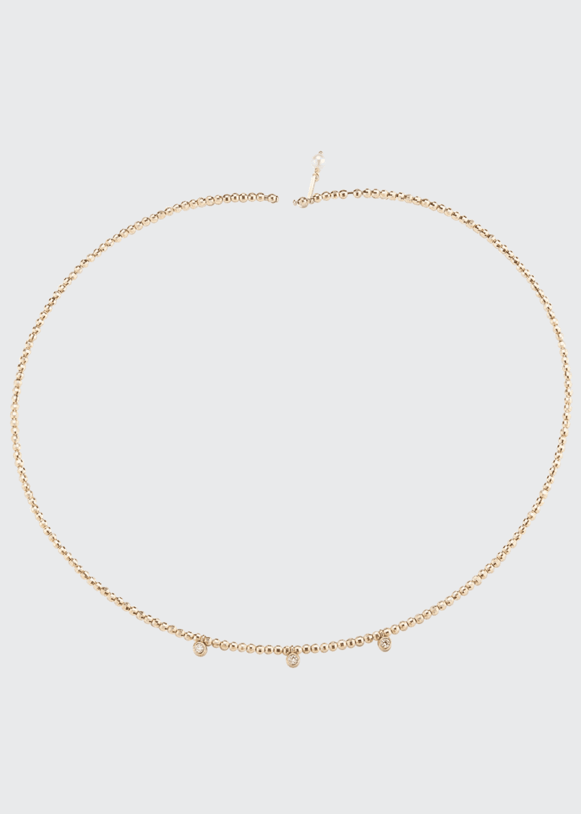 Image 1 of 1: 14k Gold Pearl & Diamond Choker Necklace