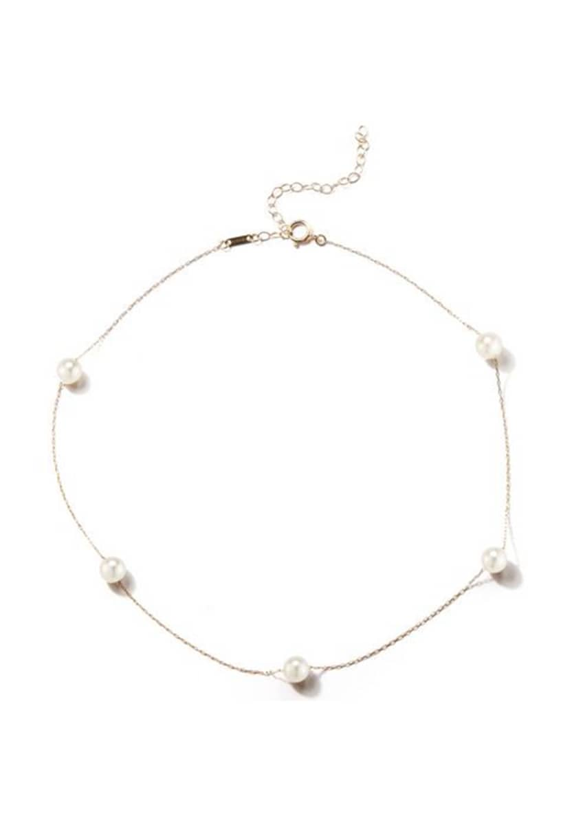 Image 1 of 1: 14k Gold Pearl Station Necklace