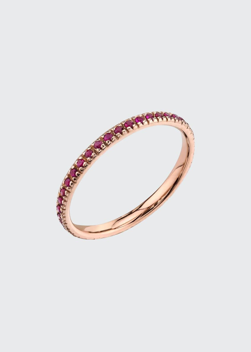 Image 1 of 1: 14k Rose Gold Band Ring with Rubies