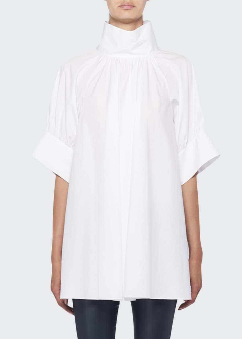 THE ROW Abel Stand-Collar Short-Sleeve Poplin Blouse &