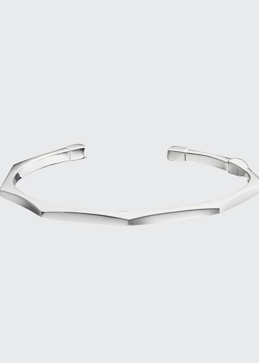 Image 1 of 2: Sterling Silver Faceted Hinged Sun Bangle