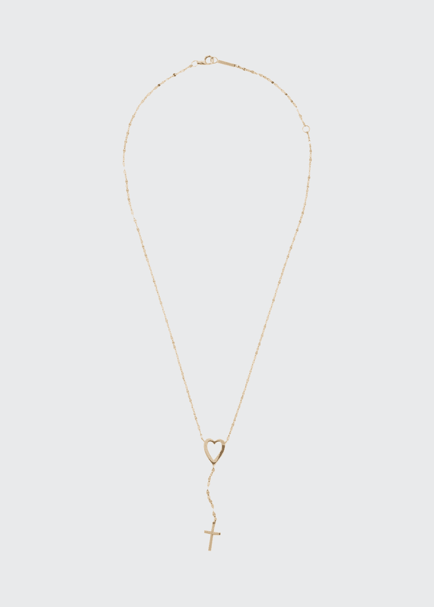 Image 1 of 1: 14k Heart Cross Lariat Necklace
