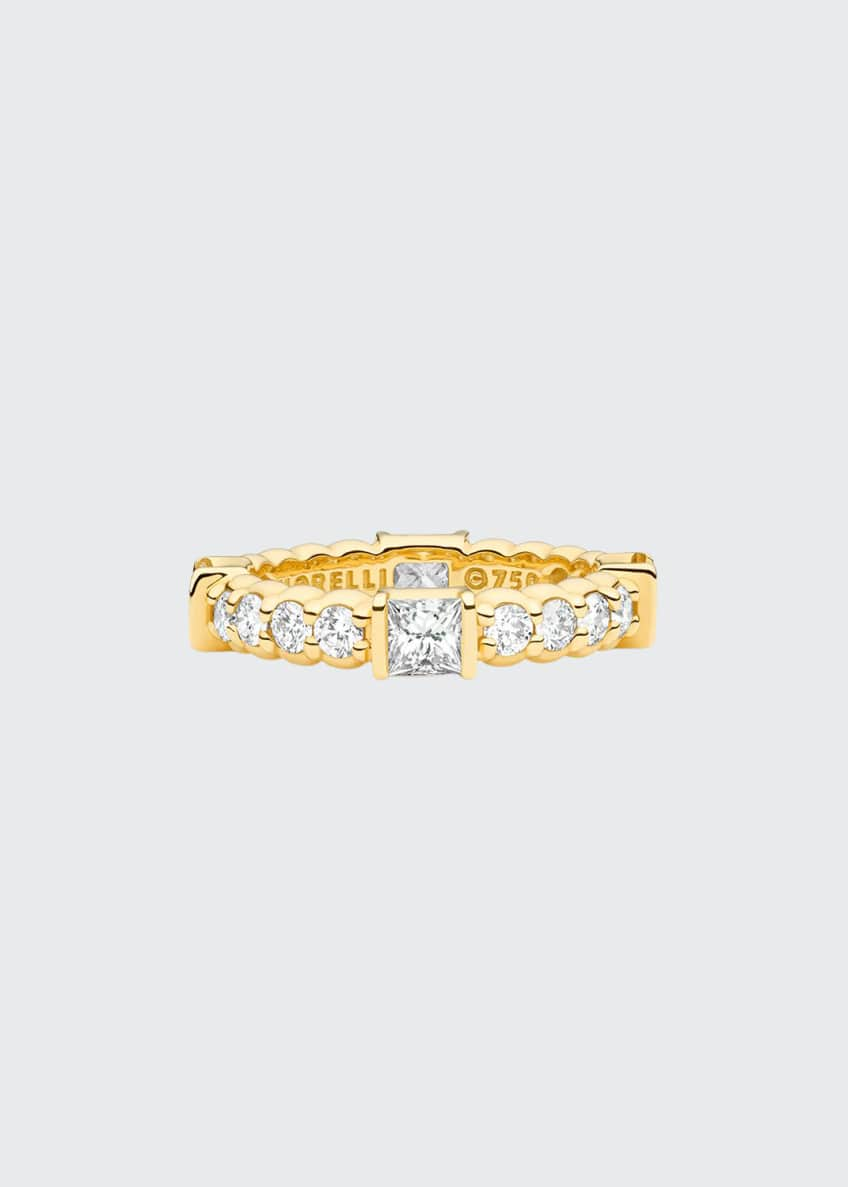 Image 1 of 1: 18K Yellow Gold Pinpoint Ring w/ Square & Round Diamonds