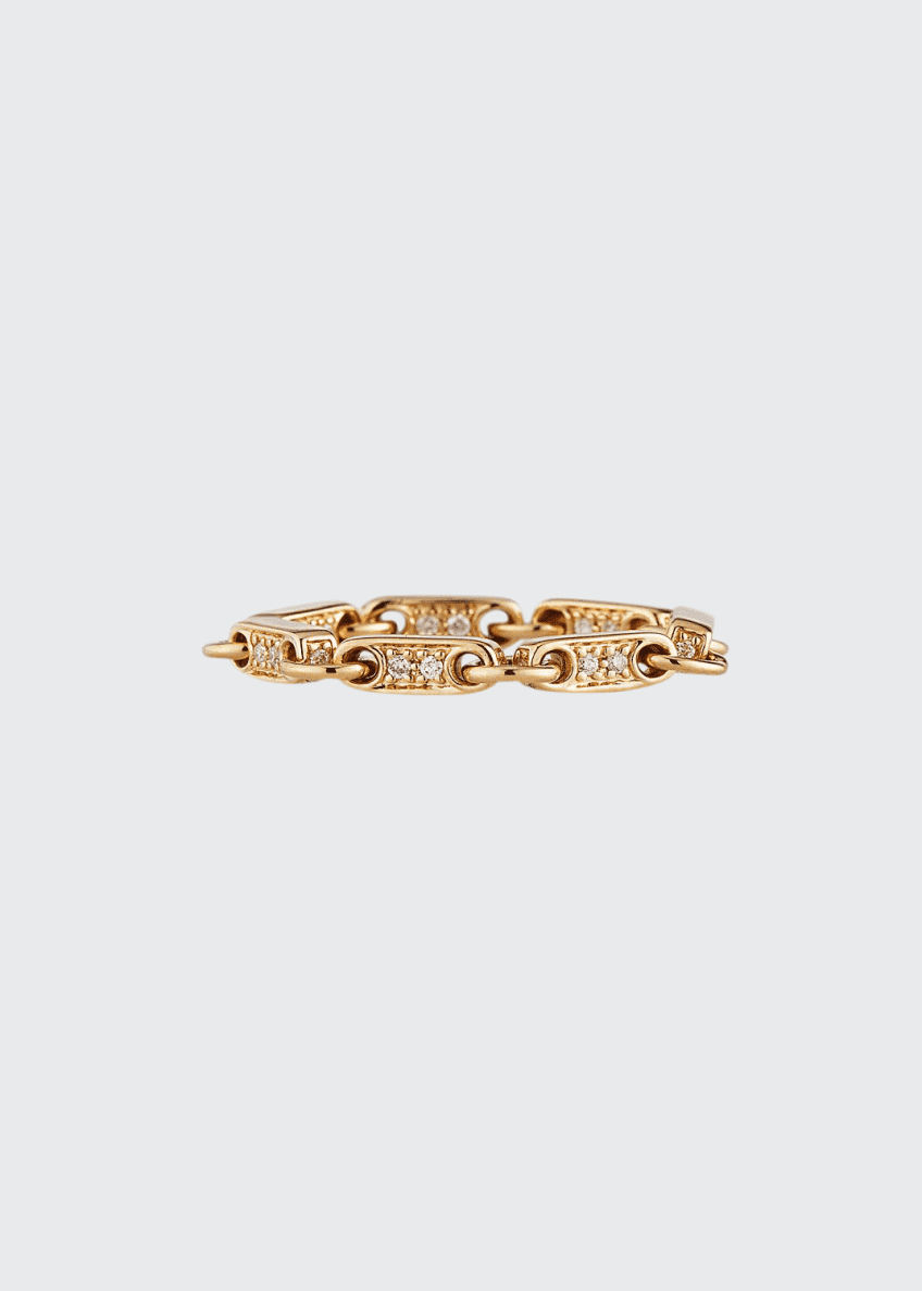 Image 1 of 3: 14k Gold Elongated Diamond-Link Ring, Size 6.5