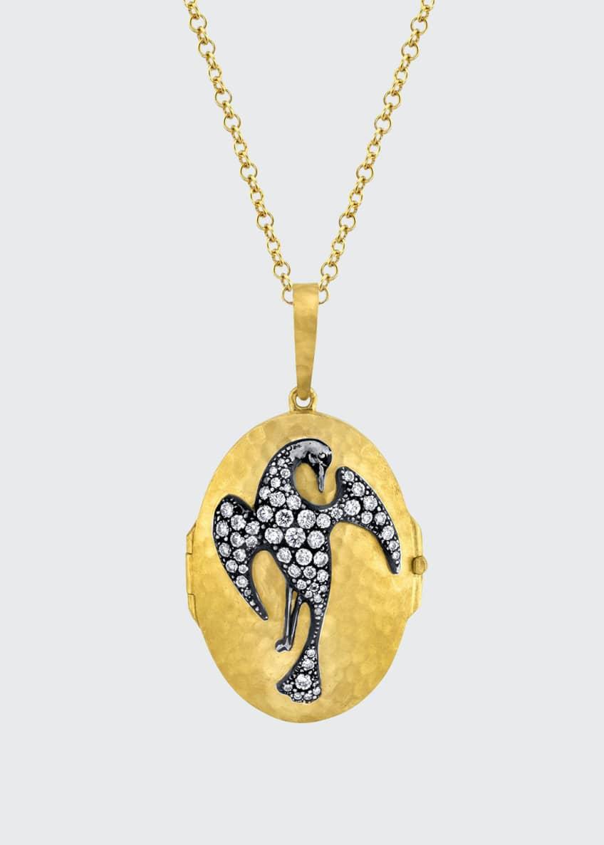 Arman Sarkisyan Hammered Oval Phoenix Locket Necklace w/