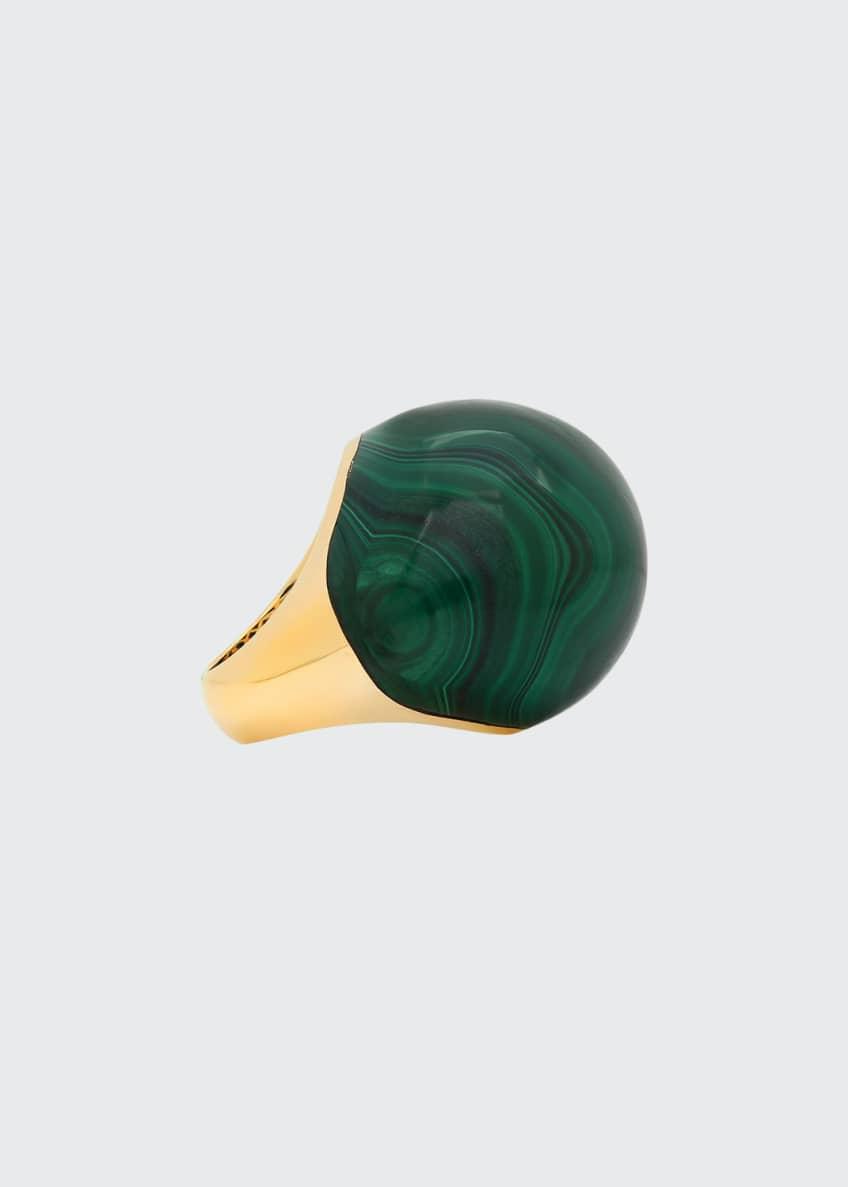 Established Jewelry 18k Bauble-Shaped Malachite Dome Ring, Size
