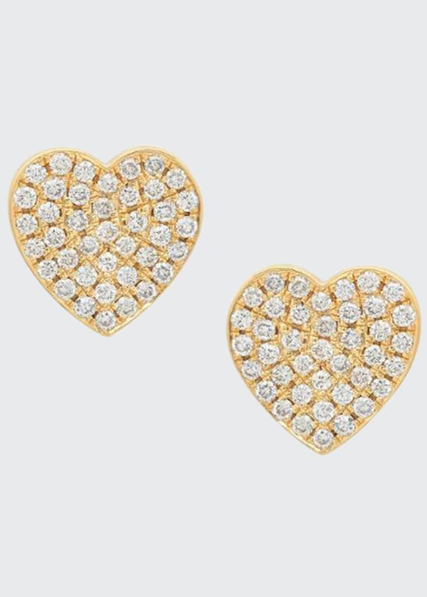Established Jewelry 18k Diamond Pave Heart Stud Earrings