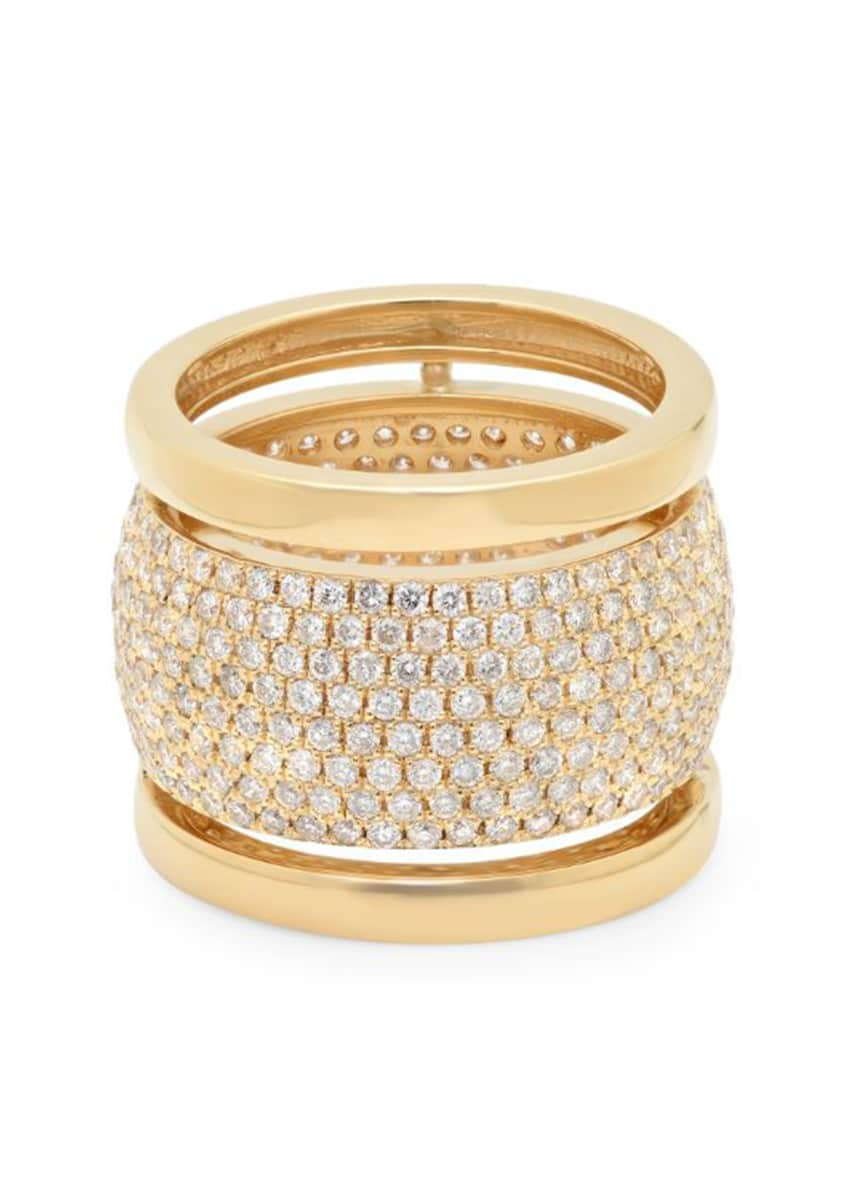 Image 1 of 2: Trio 18k Cigar Band Ring w/ Diamonds