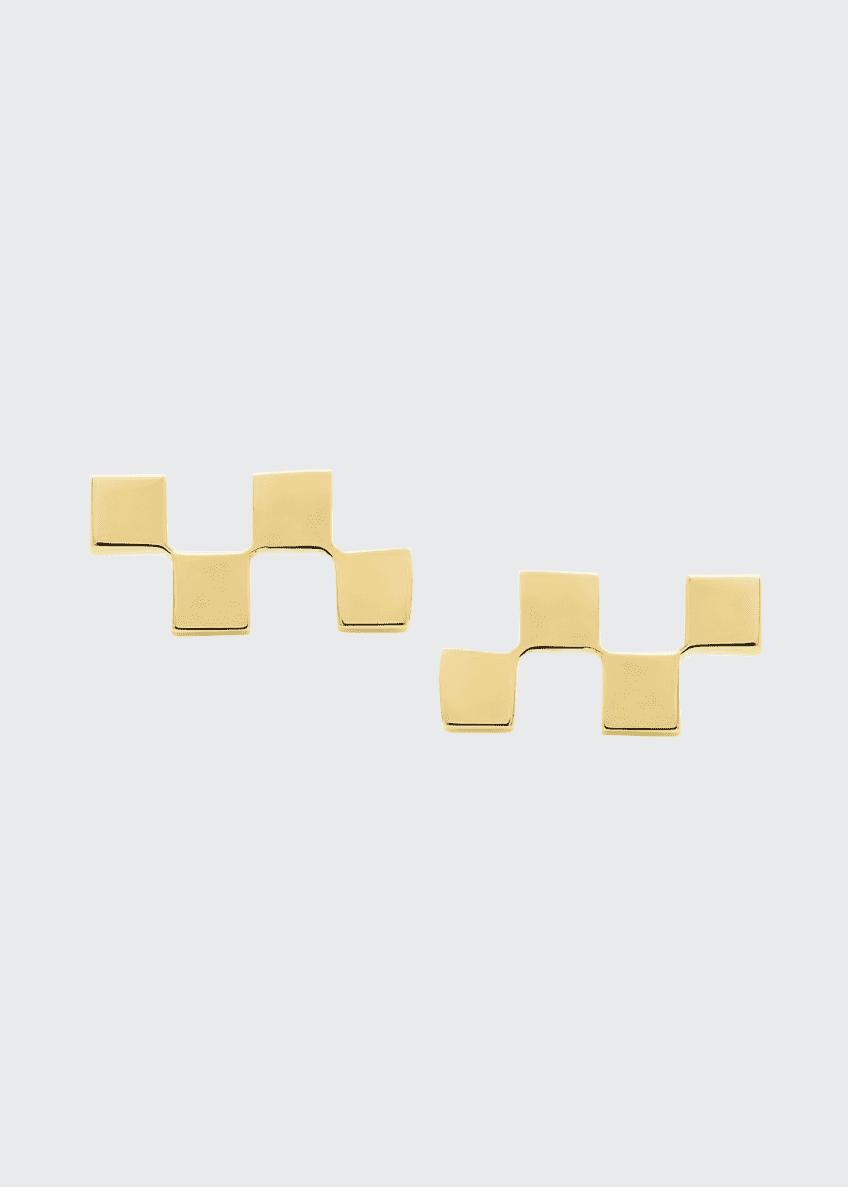 Established Jewelry 14k Gold Short Checker Stud Earrings