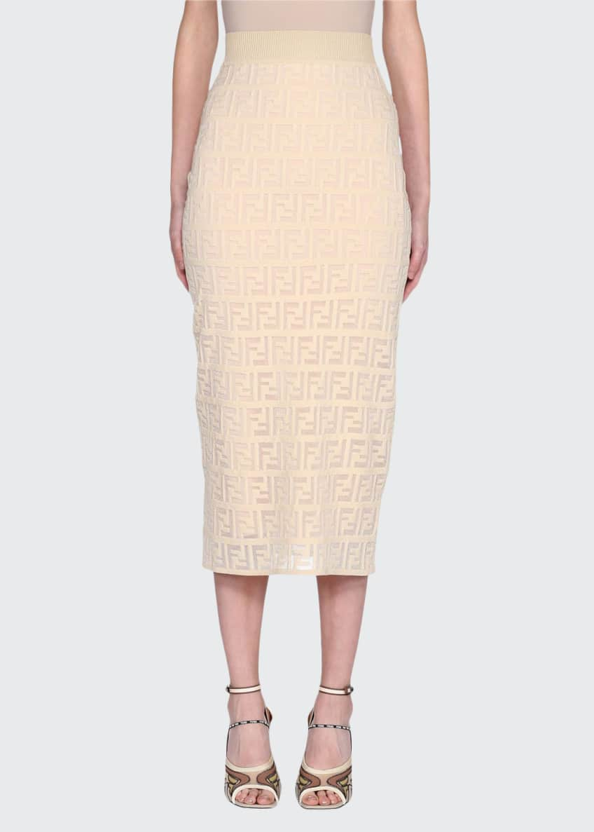Image 1 of 2: Logo Embroidered Knit Pencil Skirt