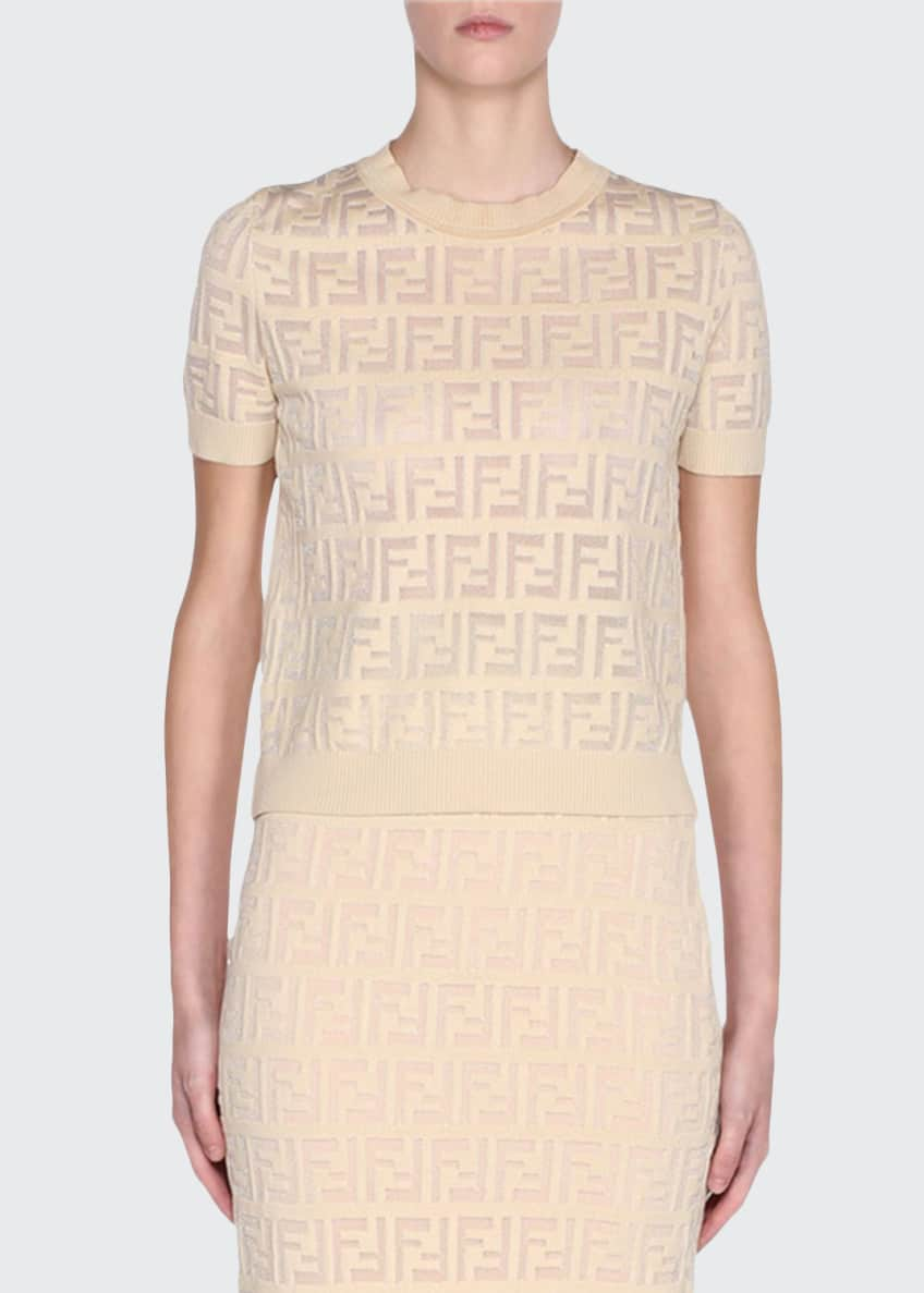 Image 1 of 4: Jacquard Short-Sleeve Knit Top