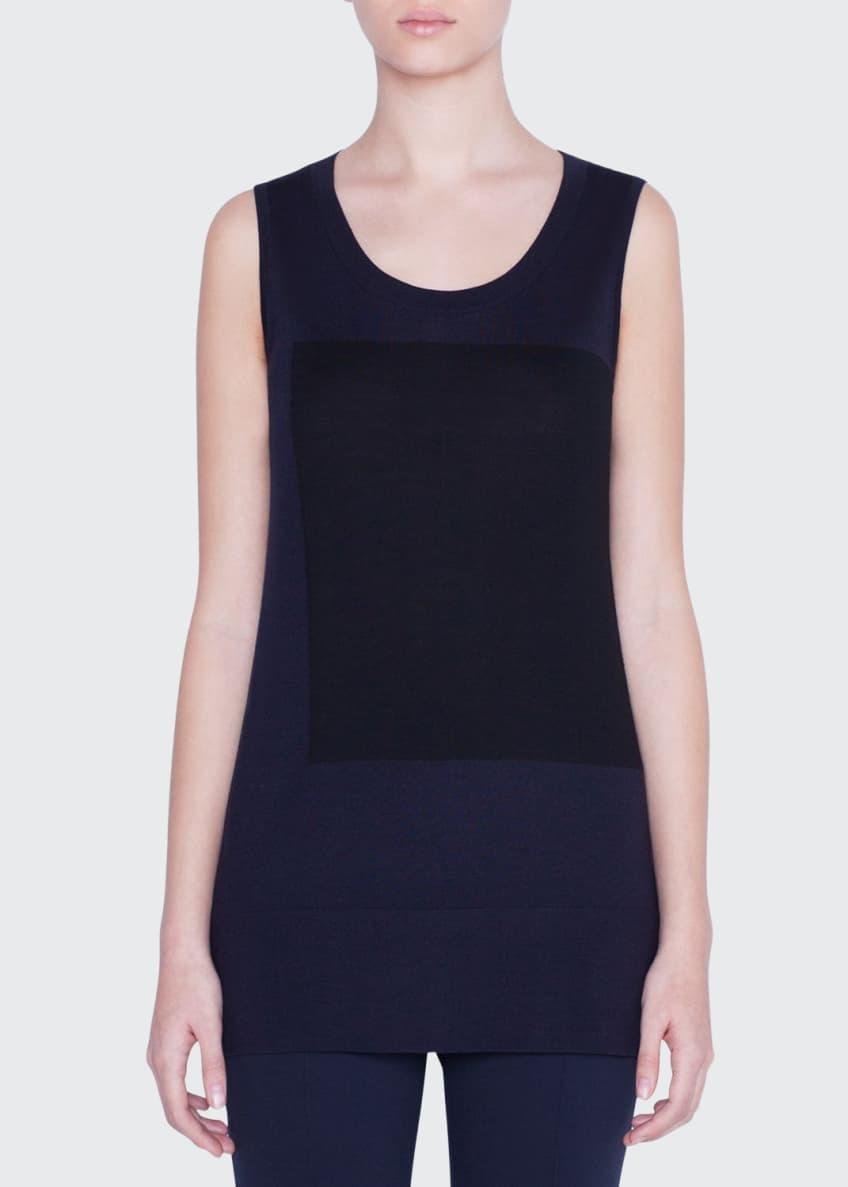 Akris punto Sleeveless Contrast-Square Wool Sweater & Matching