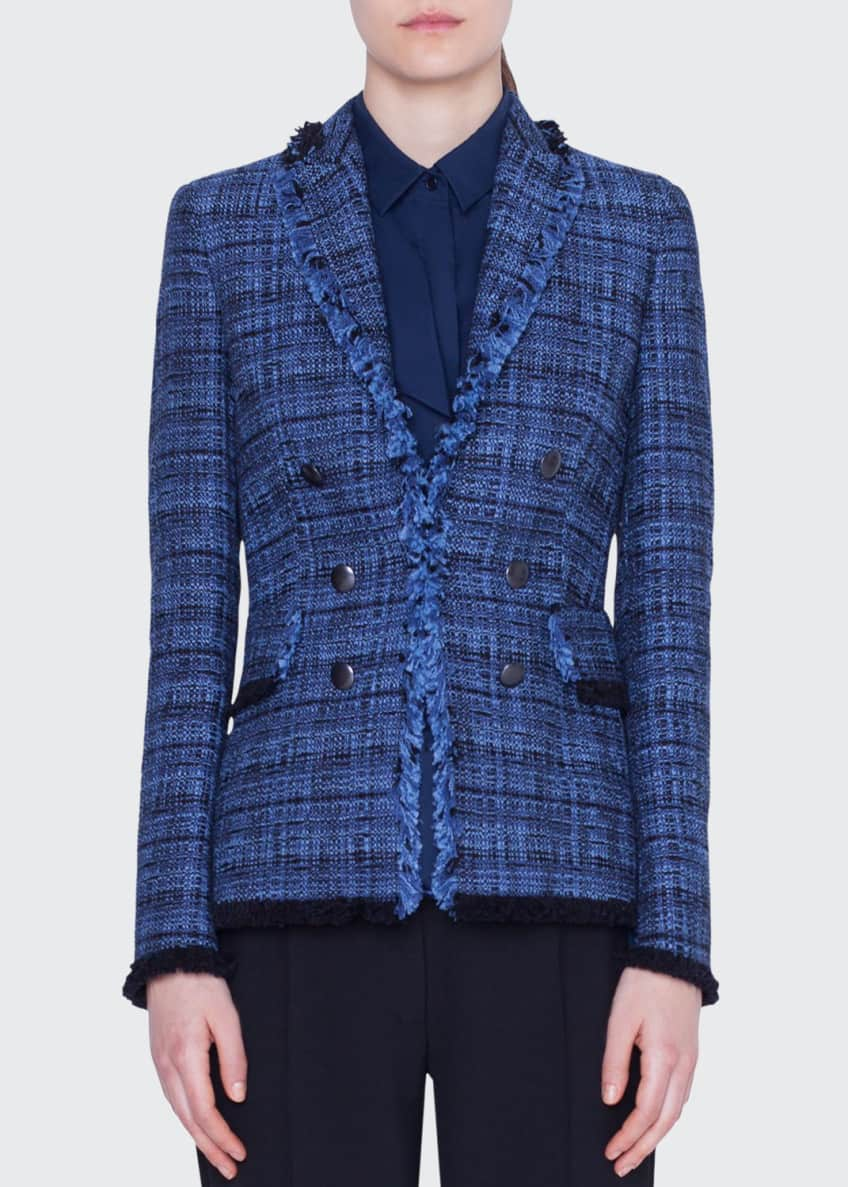 Akris punto Fringe-Trim Tweed Blazer Jacket & Matching