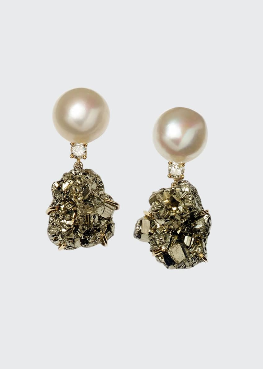 Image 1 of 1: 18k Bespoke Tribal Luxury 2-Tier Earring with Pearl, Pyrite, and Diamond