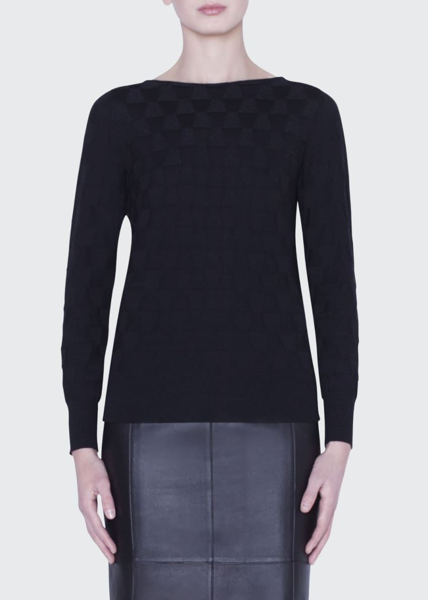 Image 1 of 5: Long-Sleeve Shimmer-Triangle Knit Top