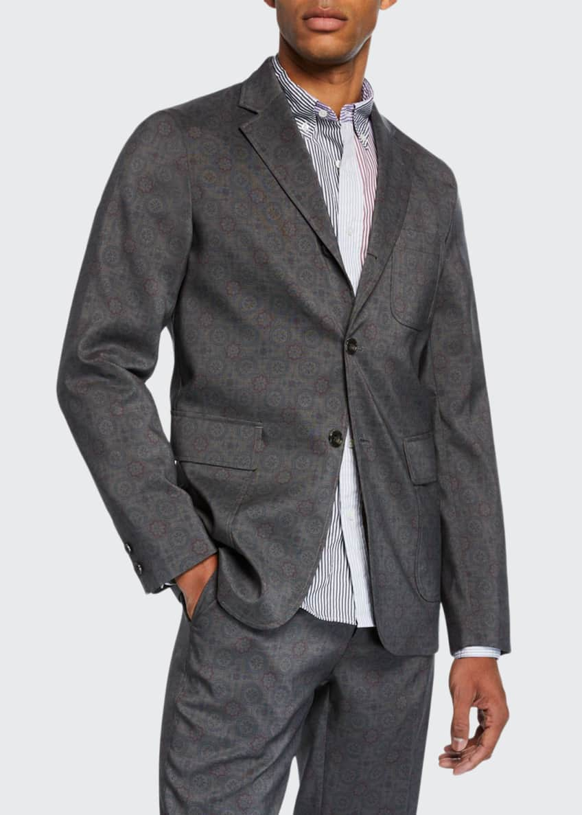 Image 1 of 3: Men's Geometric-Print Three-Button Jacket
