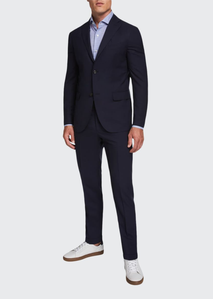 Image 1 of 4: Men's Two-Piece Wool Twill Suit