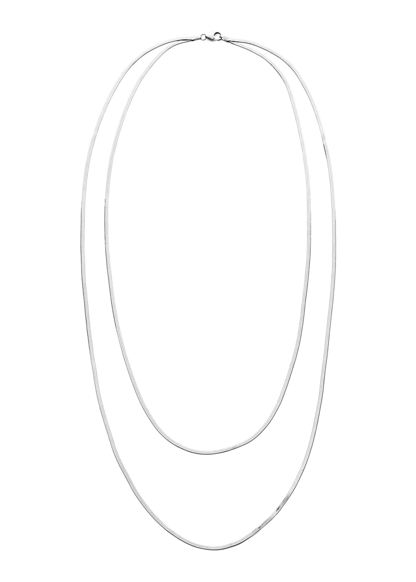 Image 1 of 1: 14k Gold Herringbone 2-Strand Necklace