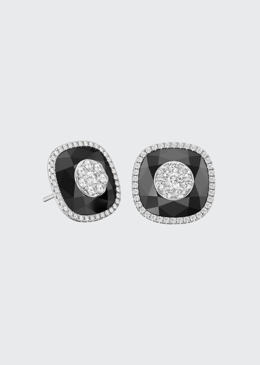 Image 1 of 1: 18k White Gold 13mm Cushion-Cut Stud Earrings w/ Diamonds