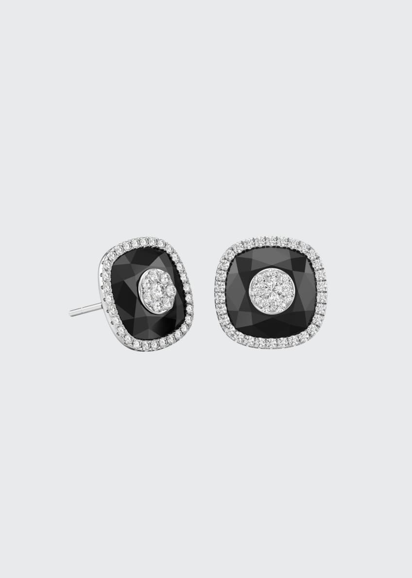 Image 1 of 1: 18k White Gold 10mm Cushion-Cut Stud Earrings w/ Diamonds