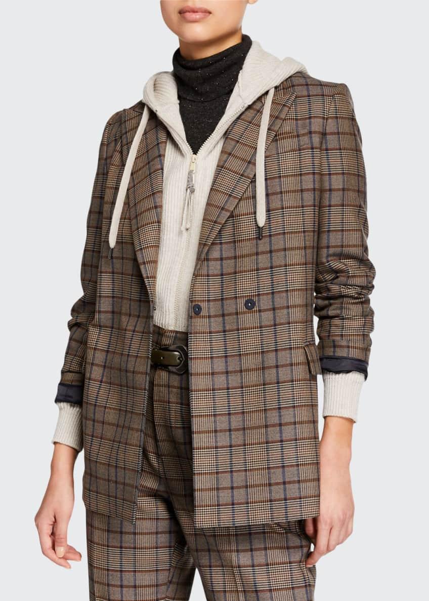 Brunello Cucinelli Hidden Button-Front Wool Cotton Jacket &