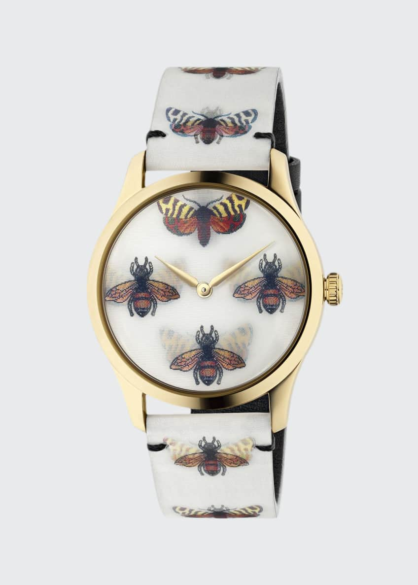 Image 1 of 4: 38mm G-Timeless Hologram Watch w/ Leather Strap, White/Gold
