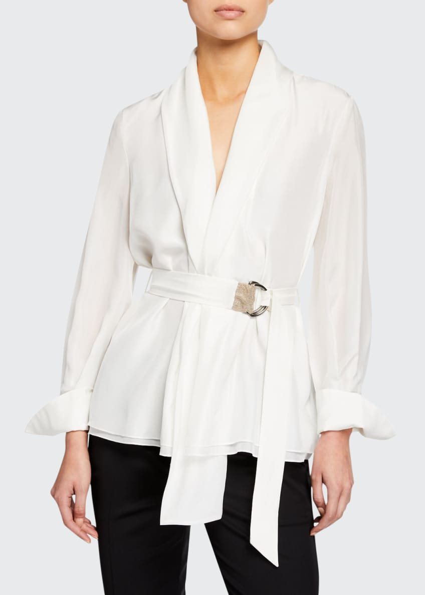 Brunello Cucinelli Long-Sleeve Monili-Belted Georgette Blouse &