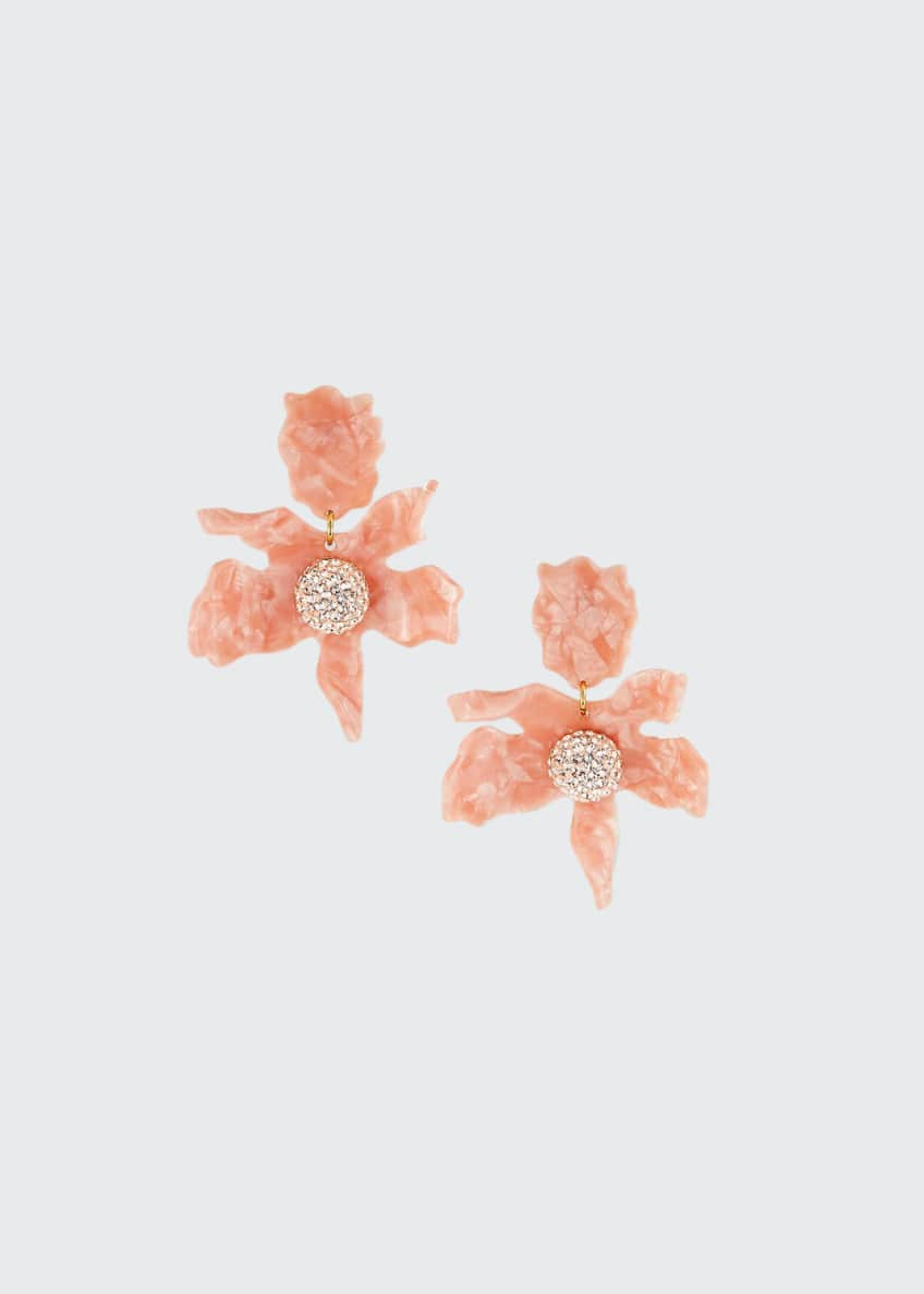Image 1 of 1: Crystal Lily Stud Earrings, Peach