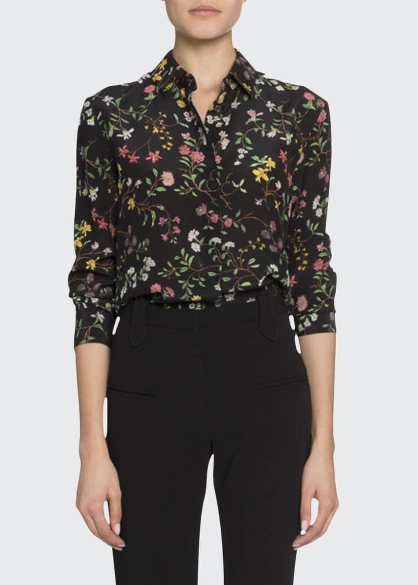 Altuzarra Floral Print Long-Sleeve Button-Front Blouse & Matching
