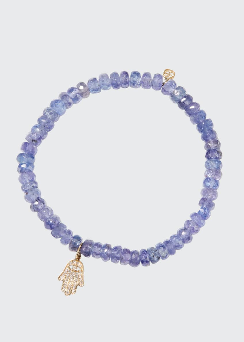 Image 1 of 1: 14k Diamond Hamsa & Tanzanite Bracelet