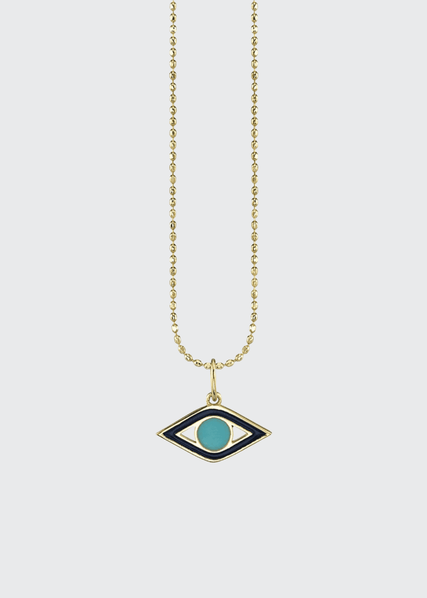 Image 1 of 1: 14k Navy Enamel & Turquoise Evil Eye Necklace