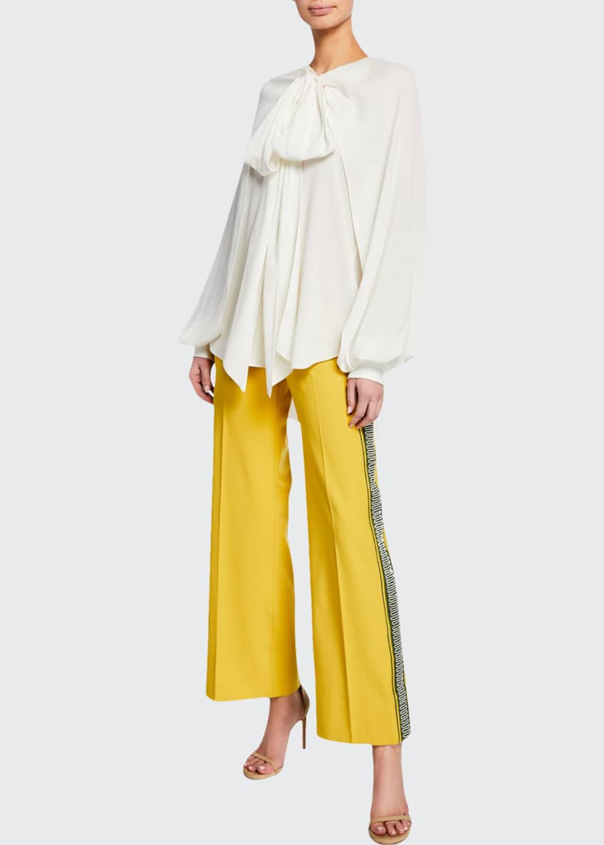 Oscar de la Renta Embroidered Side-Striped Pants &