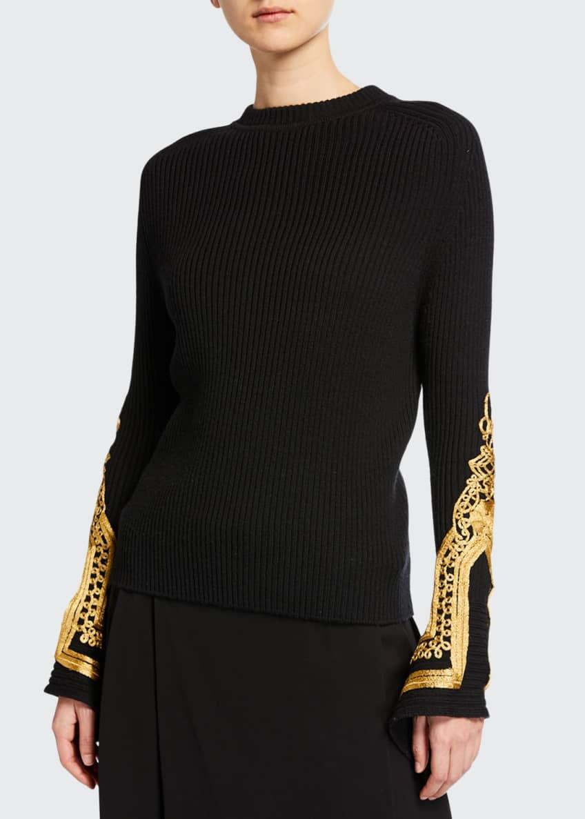 Oscar de la Renta Golden-Embroidered Wool Sweater &
