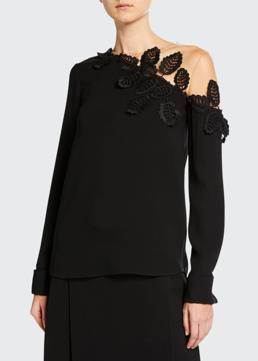 Oscar de la Renta Embroidered Mesh-Shoulder Blouse &