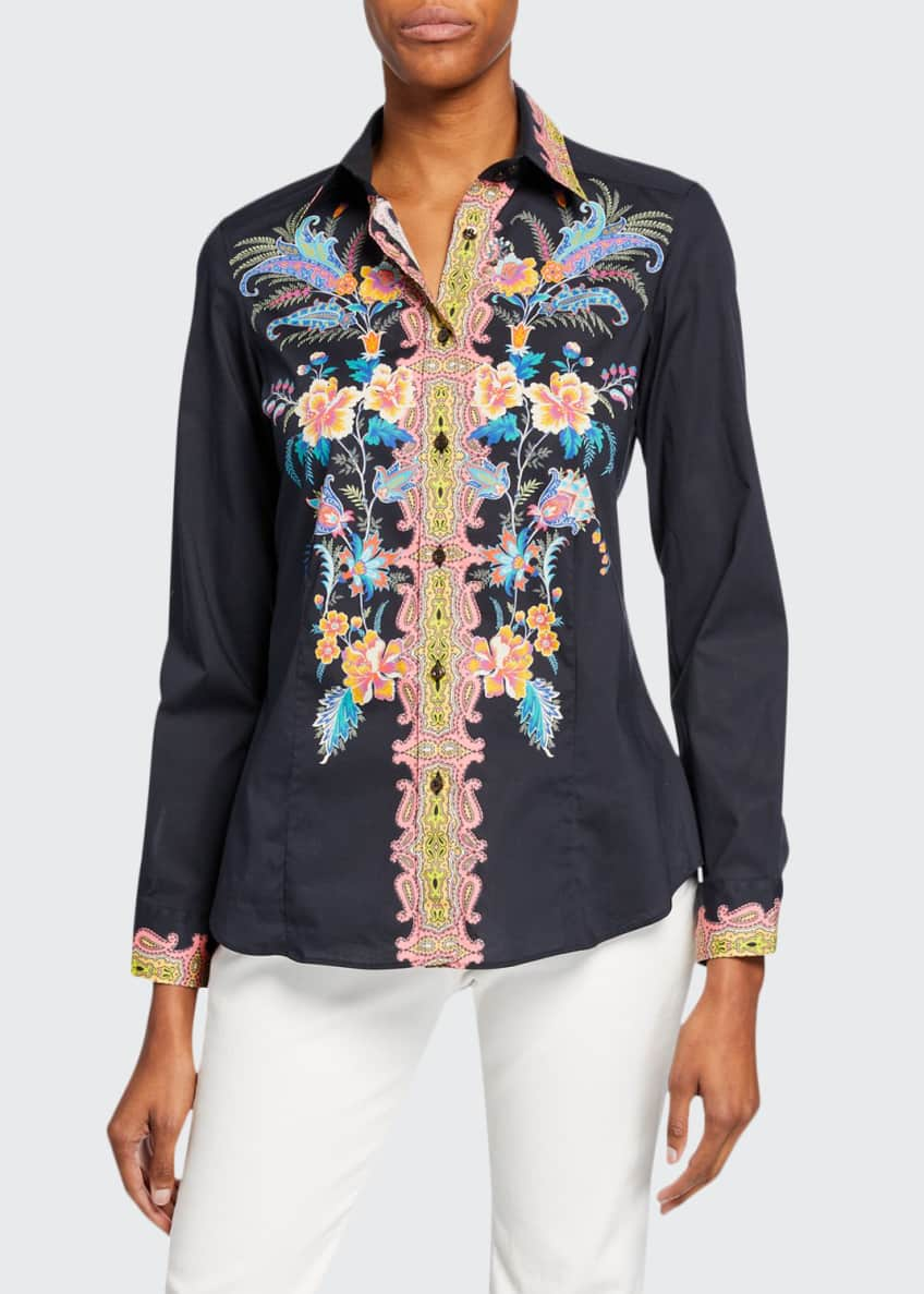 Etro Floral Fern Engineer Cotton Shirt & Matching