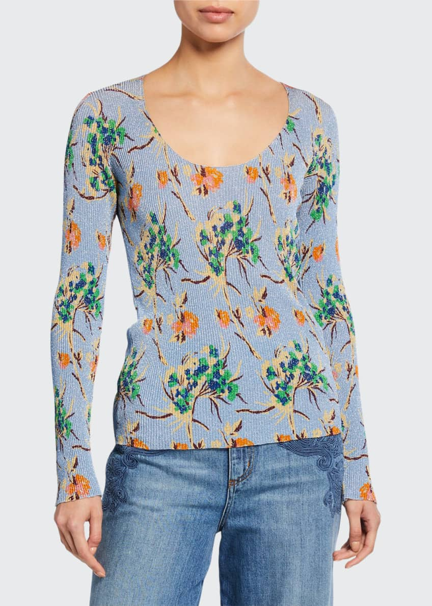 Etro Ribbed Floral V-Neck Sweater & Matching Items