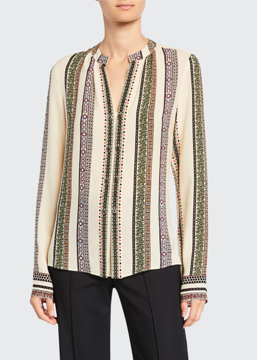 Derek Lam Kara Provencal Striped Button Blouse &