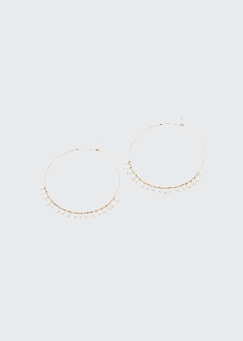 Image 1 of 2: 14k Gold Large Hoop & Pearl Dangle Earrings