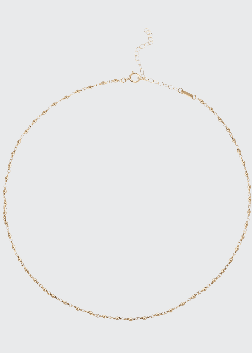Image 1 of 1: 14k Gold Wrapped Bead Choker Necklace
