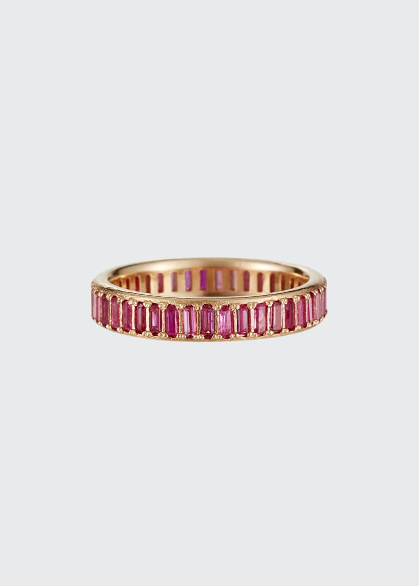 Image 1 of 2: Cuento 14k Pink Sapphire Baguette Ring, Size 6.5