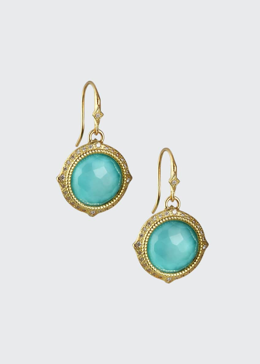 Image 1 of 1: Old World Turquoise/Quartz Drop Earrings w/ Diamonds & 18k Gold