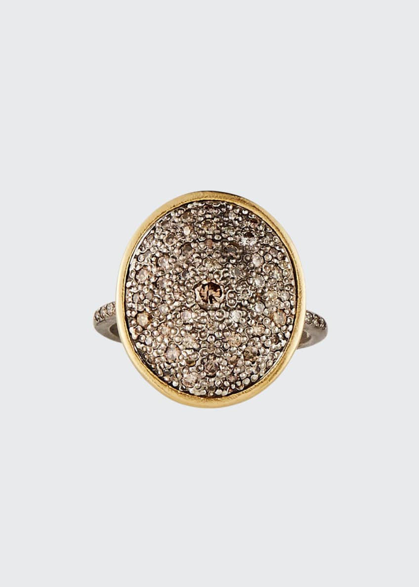 Image 1 of 2: Old World Diamond Pave Oval Ring, Size 6.5