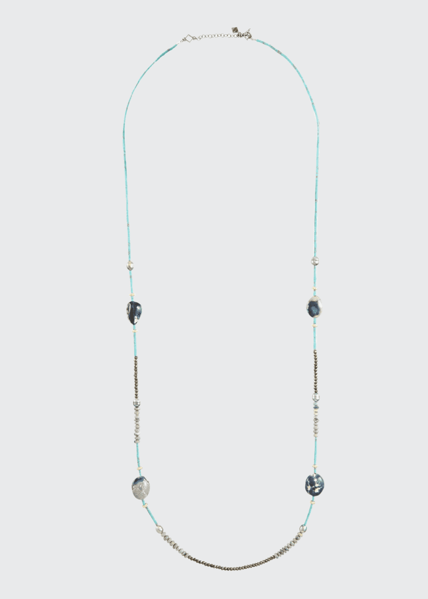 "Image 1 of 2: Old World Long Mixed-Stone & Pearl Necklace, 40""L"
