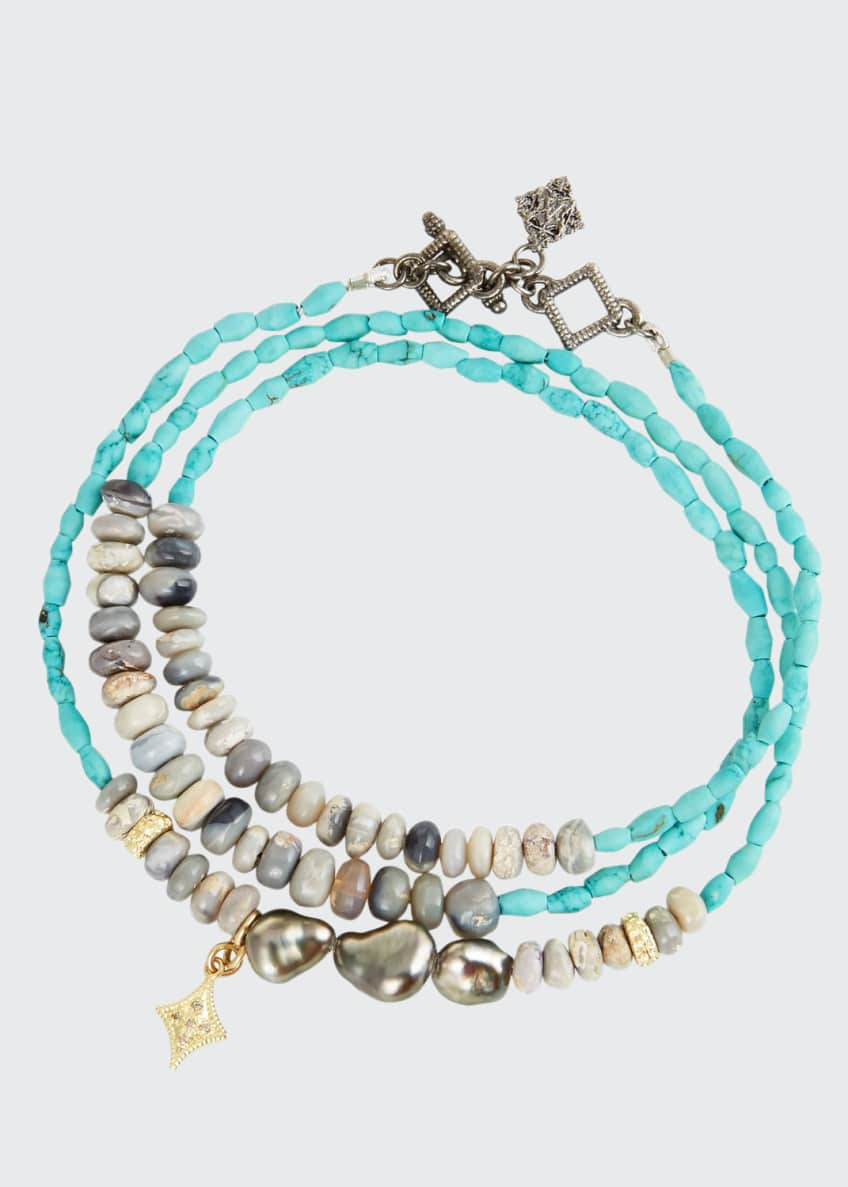 Image 1 of 1: Old World Triple-Wrap Pearl, Turquoise & Opal Bracelet