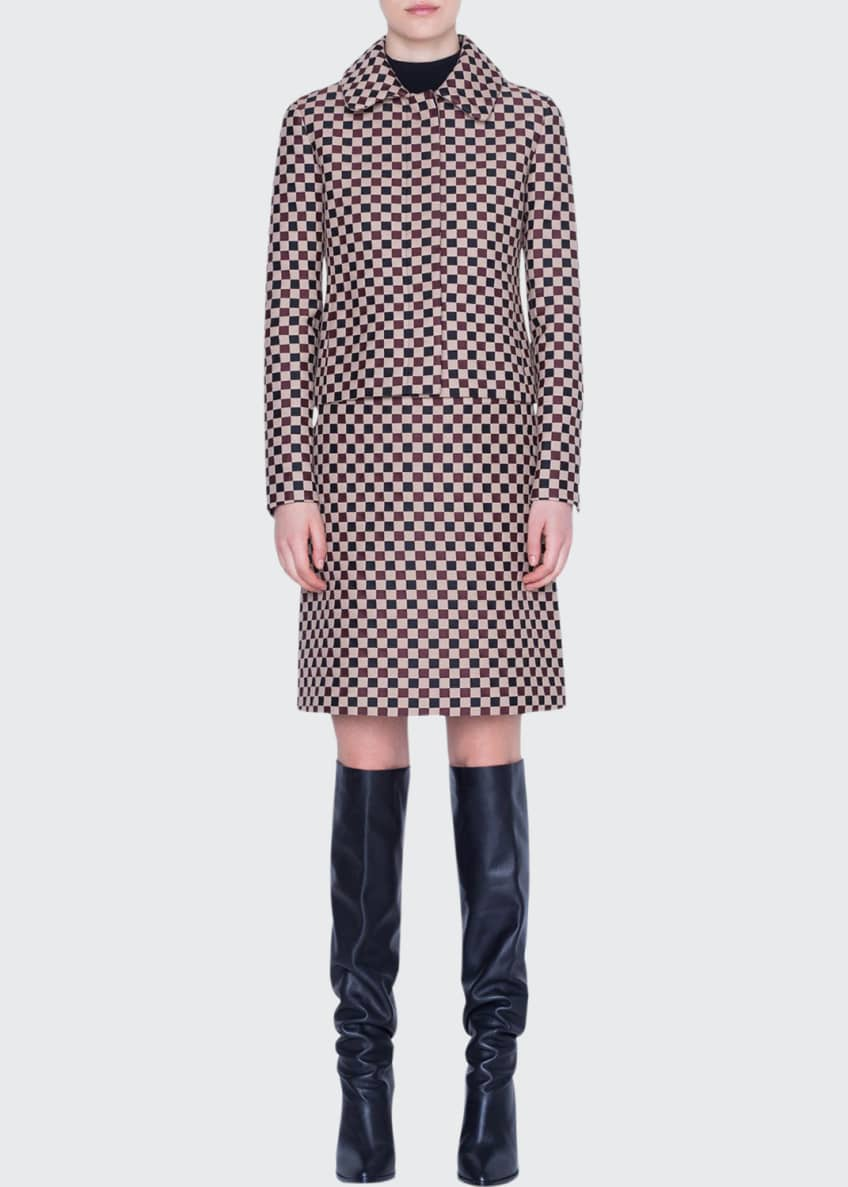 Akris punto Chess Checked Jacquard Short Jacket &
