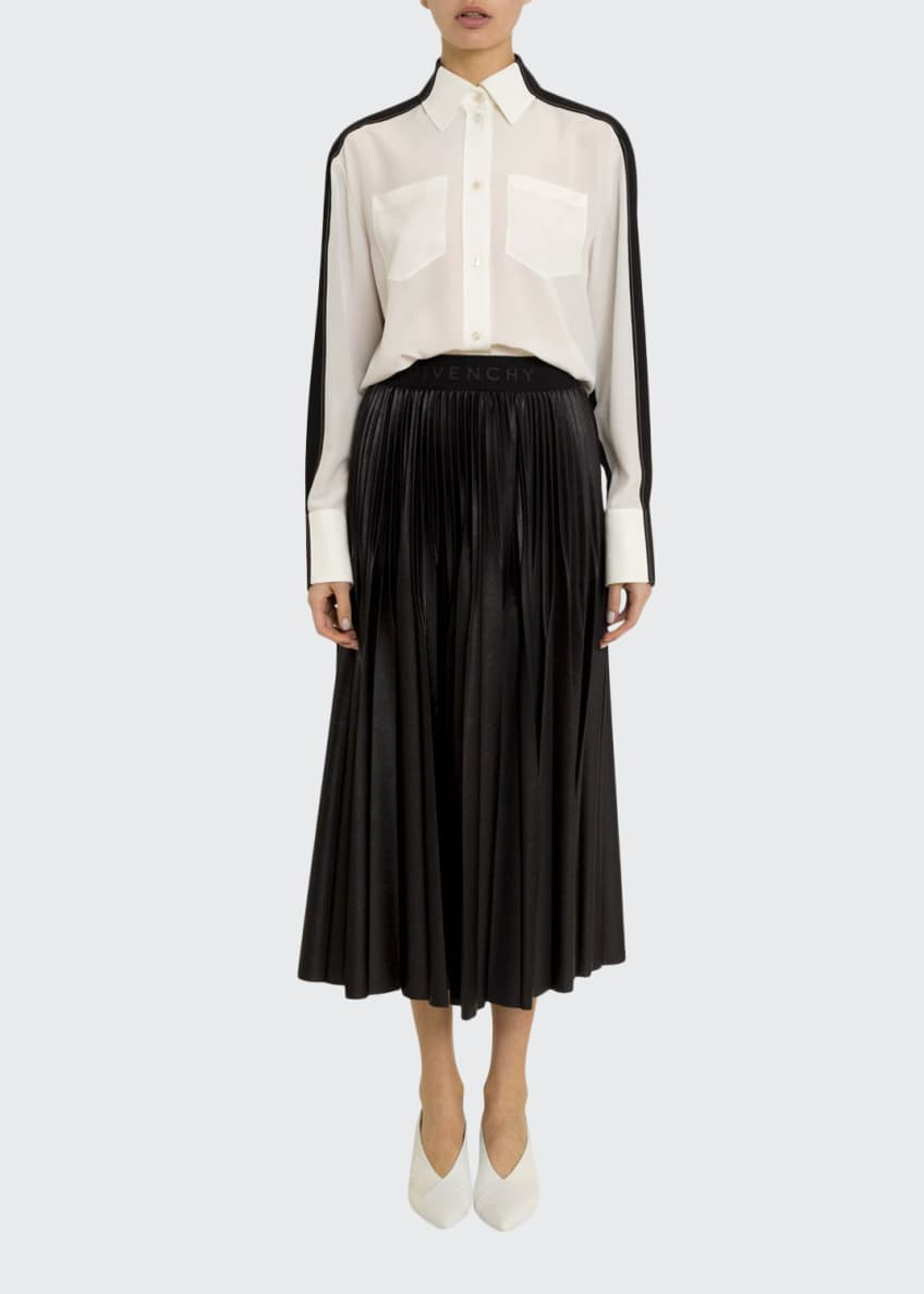 Givenchy Long Two-Tone Georgette Button-Front Shirt & Matching