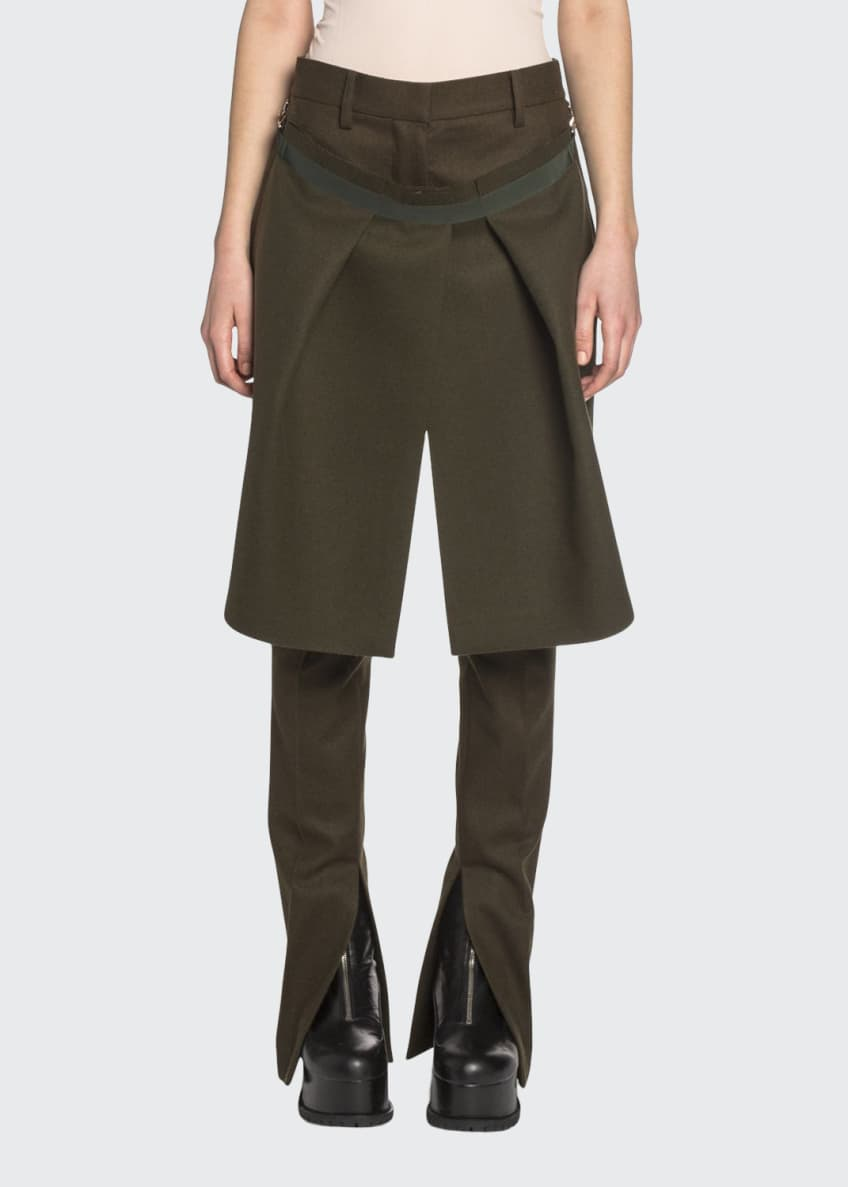 Image 1 of 2: Apron Front Wool Pants