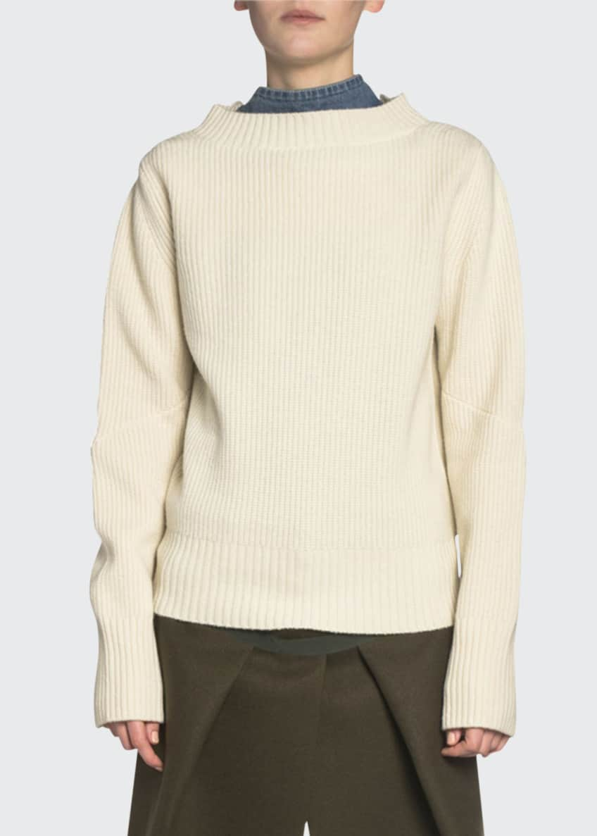 Image 1 of 4: Denim-Back Ribbed-Knit Mock-Neck Sweater