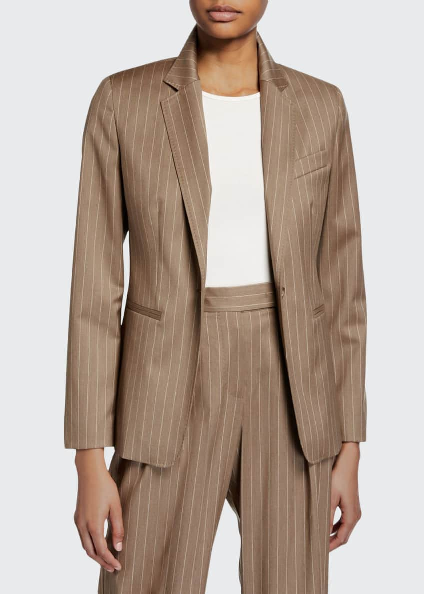 Maxmara Kuens Pinstriped Virgin Wool One-Button Jacket &