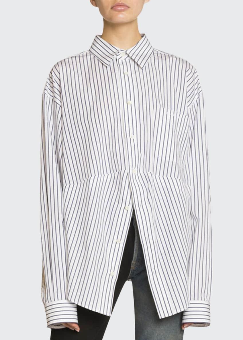 Balenciaga Pinstriped Cotton Boyfriend Shirt & Jeans &